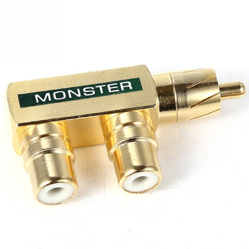 Copper RCA Plugs Plated 1 Male to 2 Female AV Audio Video Splitter Plug RCA Adapter Connector Connectors(China (Mainland))