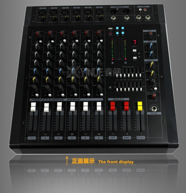Professional 6 Channel mixer with 1200w amplifier high power USB