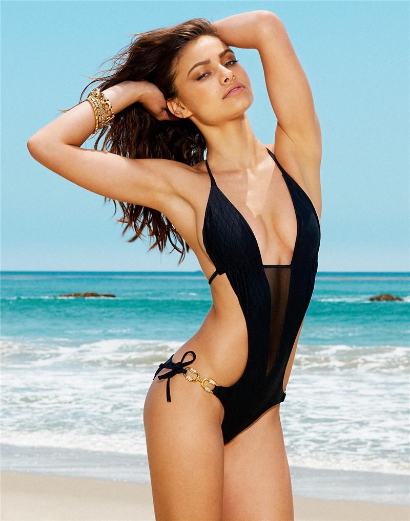 Free Shipping Black One Piece Swimsuit One Piece Swimwear Sexy Monokini Women Bathing Suits Fashion Bandage Beachwear 1587Одежда и ак�е��уары<br><br><br>Aliexpress