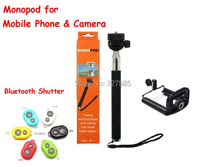 Bluetooth Remote Camera Control Self-timer Shutter +monopod+phone clip iphone 5 Samsung IOS retail DHL - Hongkong Bowa Technology Co.,Ltd. store