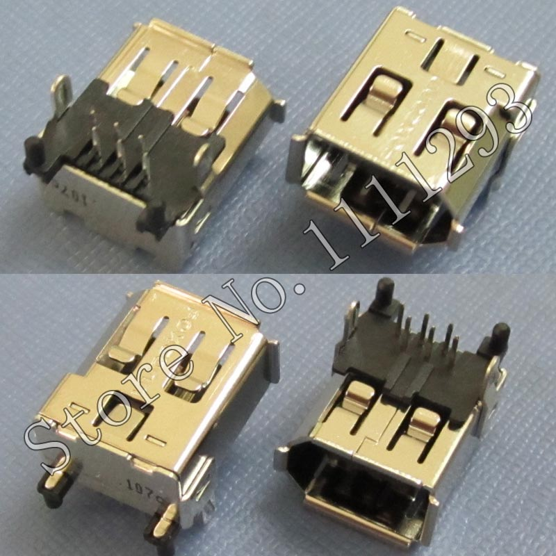 10pcs/lot IEEE-1394a 6 Pin Female Connector for PC Card DV etc camera 1394A port(China (Mainland))