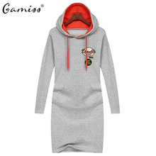 Gamiss 2016 Autumn Winter New Fashion Womens Clothing Casual Hooded Outwear Hoodies Straight Long Sleeved Pullovers Sweatshirts(China (Mainland))