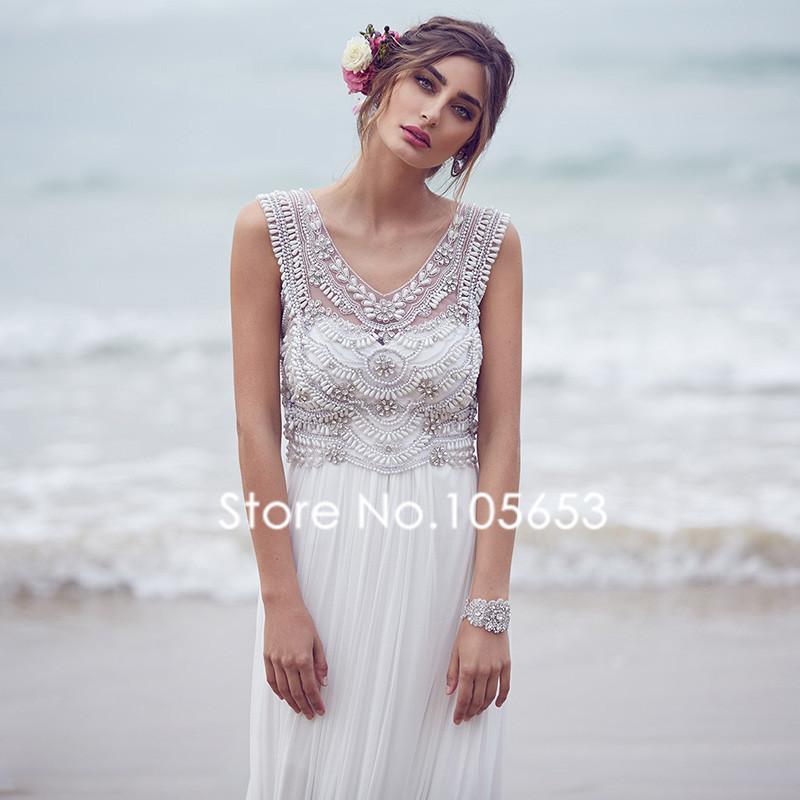 Longue en mousseline de soie perles plage robe de mariée perles Boho ...
