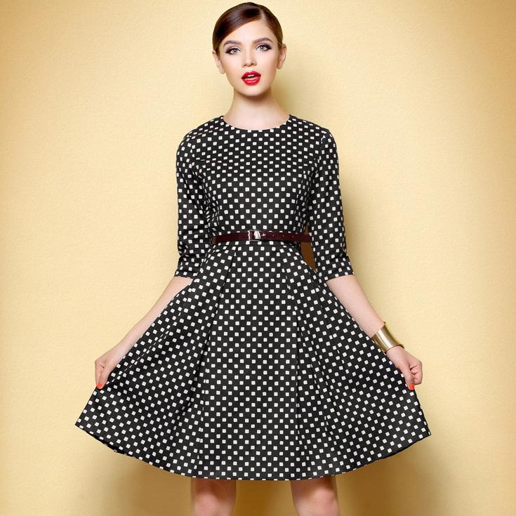 Spring Autumn Women Dress Plaid Half sleeve Black and White font b Chequered b font OL