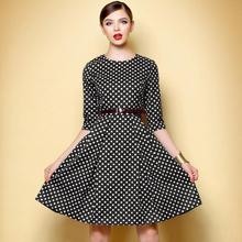 Spring Autumn Women Dress Plaid Half sleeve Black and White Chequered OL O-neck Casual Dresses Plus Size XL