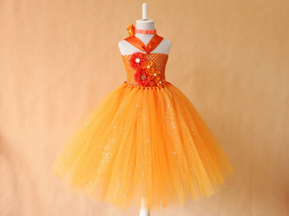 Orange flower print  tutu dress Princess sparkling glitter tutus birthday party dress retail girls prom dress children<br><br>Aliexpress