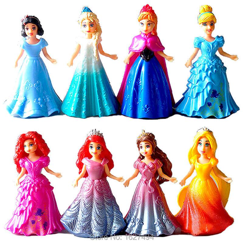 Гаджет  Disny Princess Action Figures Cinderella Ariel Merida Anna Esla Statue Collectibles Dolls Anime Figure Figurines Kids Toys Gift None Игрушки и Хобби