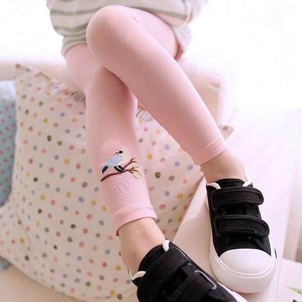 Free Shipping 2-7Y Girls Baby Kid Bird Print Skinny Pant All-match Elastic Waist Leggings(China (Mainland))