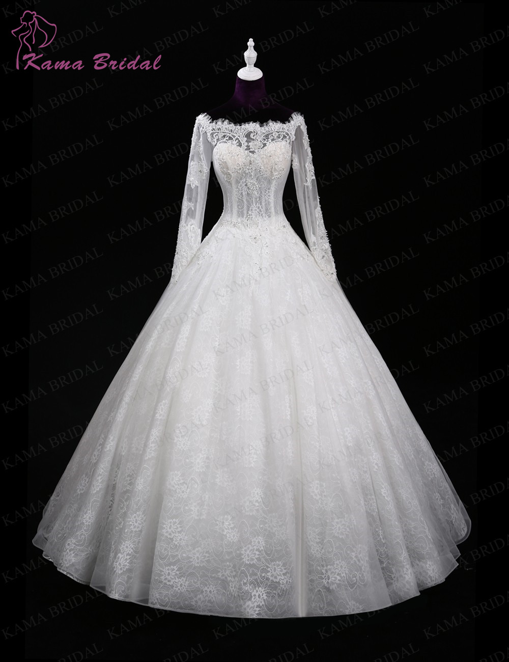 Kama bridal hot sale excellent tulle with embroidered lace for Boat neck lace wedding dress