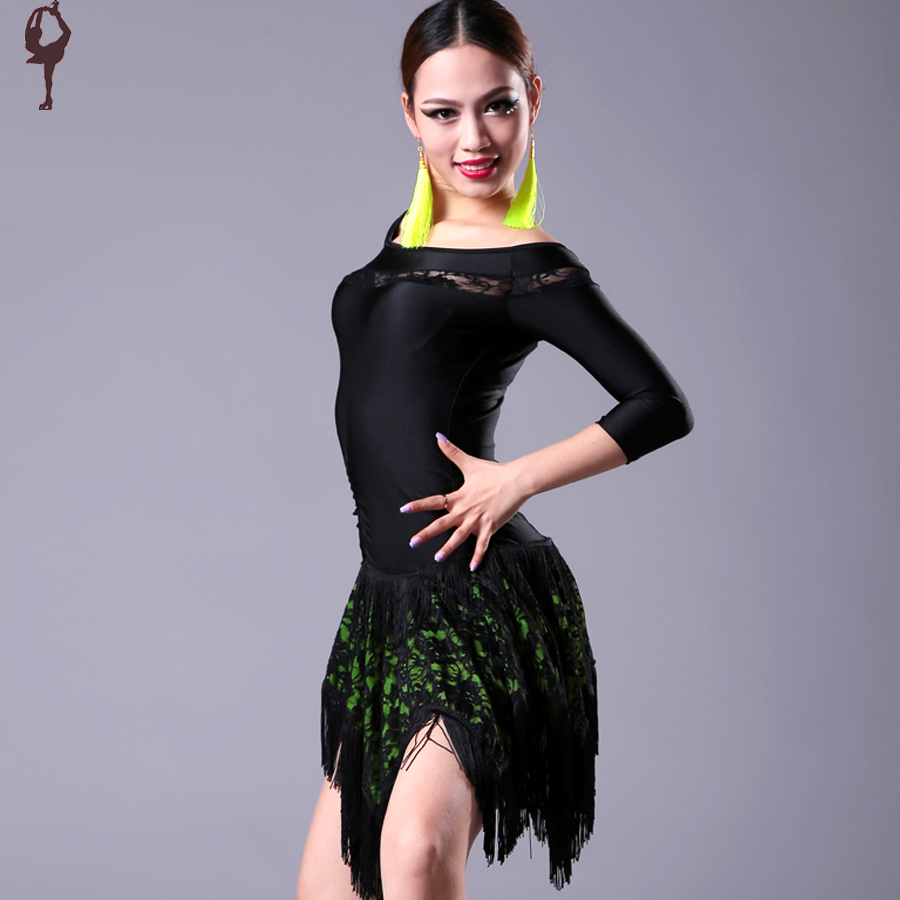 2015 New Latin Dance Dress Women Ice Silk&amp;Lace Cha Cha/Rumba/Samba/Dance Dresses With Fringe Black&amp;Green Sexy Salsa DressesОдежда и ак�е��уары<br><br><br>Aliexpress