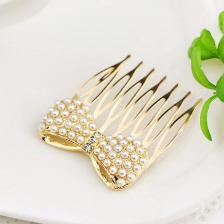 Korean Jewelry Luxury Rhinestone Pearl Bowknot Hair Combs For Women Tiara Bijoux Hair Accessories AA007(China (Mainland))