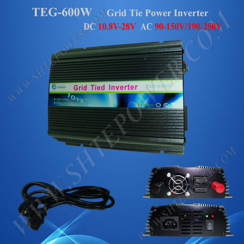 DC 10.5-28V pure sine power micro inverter grid tie home solar grid tie inverter 600w(China (Mainland))