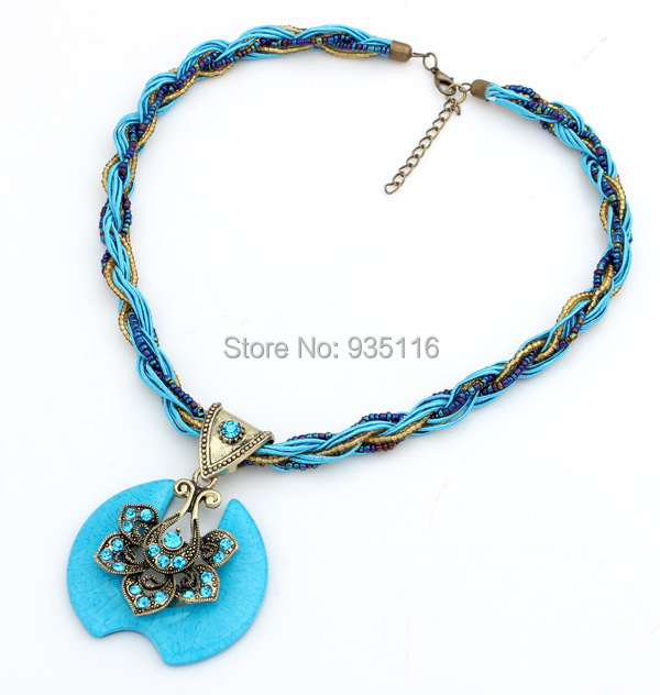 Bohemian Turquoise Necklaces & Pendants Fashion Colares Vintage Necklace For Women 2014 Antique Jewlery Christmas Gift(China (Mainland))