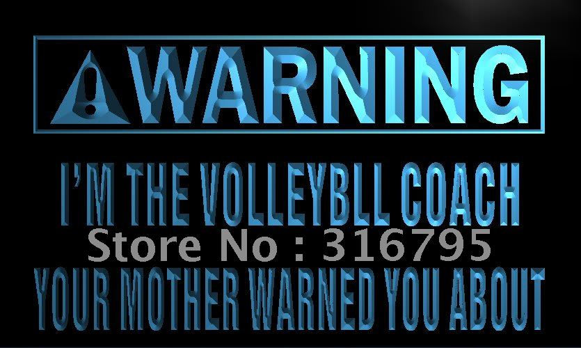 n022-b Warning I'm the volleyball coach LED Neon Light Sign(China (Mainland))