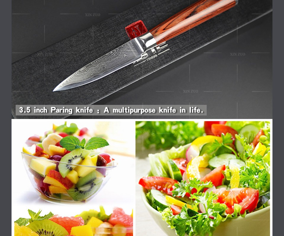"Buy XINZUO NEW 3.5"" paring knife Japan 73 layers Damascus kitchen knives fruit knife VG10 steel damascus parer knife FREE SHIPPING cheap"