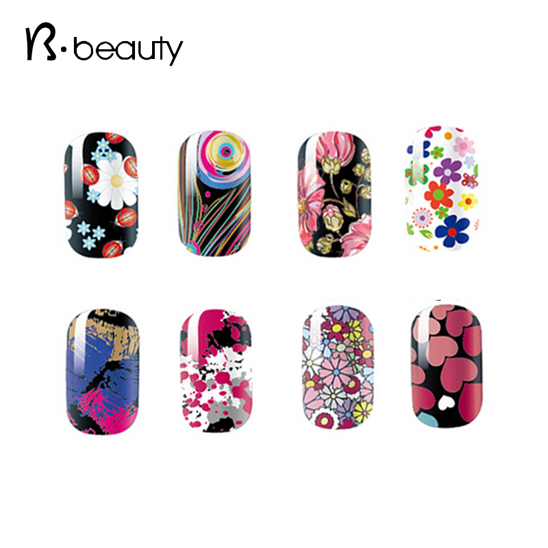2015 Beautiful Flowers Nail Patch Stickers 5pcs lot Manicure Adhesive Full Nail Wraps Decoration DIY Beauty