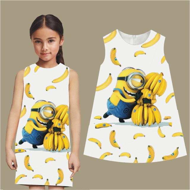 2016 Summer Style Girl clothing Casual Dress Fashion Kids minions dress Floral Print Children Dress Designer Kids Clothes(China (Mainland))