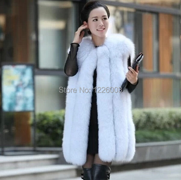 2015 New Real Fox Fur Vest Women Long Waistcoat Winter fox Gilet luxury fur Sleeveless Jacket - women store