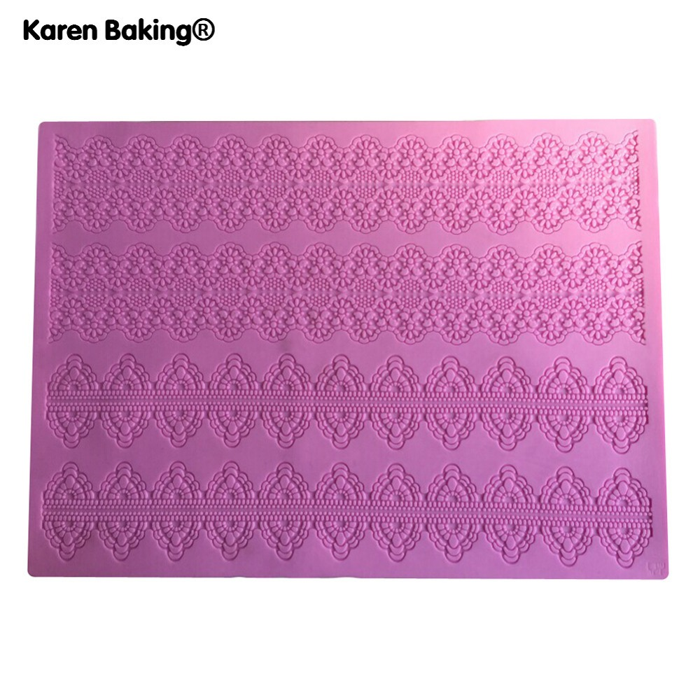 Beautiful Big Lace 3D Silicone Cake Fondant Mould Tools Cookware Dining Bar Non-Stick Cake Decorating Fondant Mold--Y064(China (Mainland))