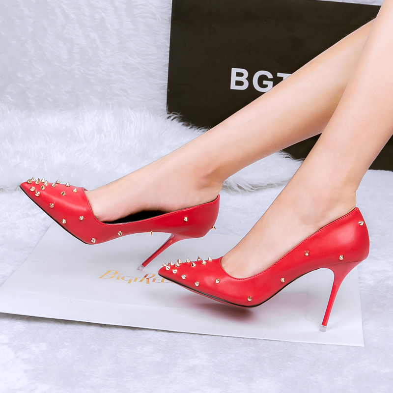 Sexy Rivets Design Pointed Toe Thin High Heels Women New Red ...