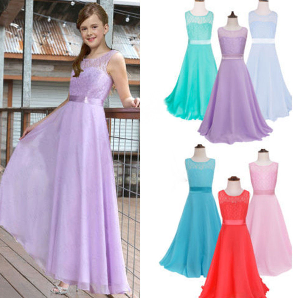 New Design Children's Girls Lace Princess Prom Dresses for Wedding Bridesmaids Dresses Girl Teenger Perform Long Dress Clothing(China (Mainland))