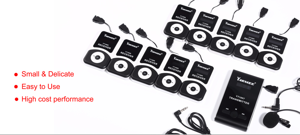 Wireless Church Audio System YARMEE 1 Transmitter 5 Receivers 1 clip-on microphone 5 Earphone Audio System Integrated Tour Guide