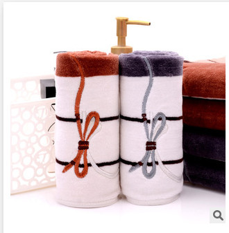 New embroidered cotton terry towel striped bow combination of high quality gift towel face towel 2 Pcs / lot, free shipping(China (Mainland))