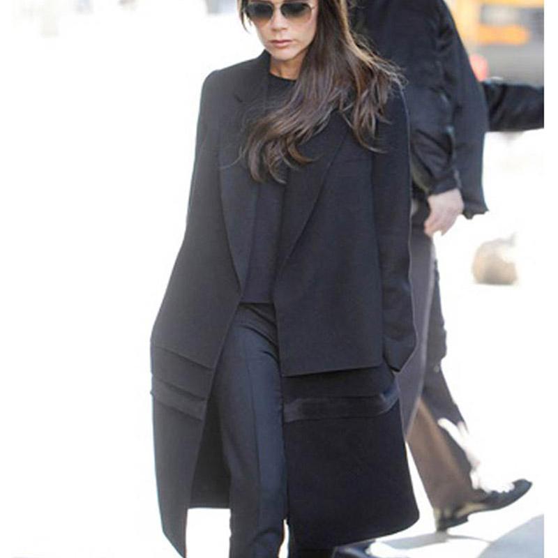 Victoria Beckham Coat 2016 Autumn  Winter New Fashion Brand  European Turn-Down Collar Flap Black Elegant Thicken Woolen CoatОдежда и ак�е��уары<br><br><br>Aliexpress