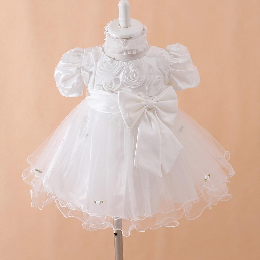 Christmas Baby Dresses Girl White Baptism Vestido With Hair Accessories 1 Year Birthday Baby Girl Clothes For Party SKF154705(China (Mainland))