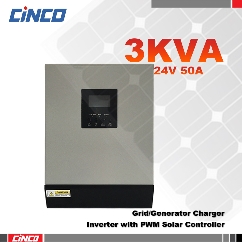 3KVA 24VDC Power Inverter & 50A PWM Solar panel controller and grid charger 2400w remote control power supply solar inverter(China (Mainland))