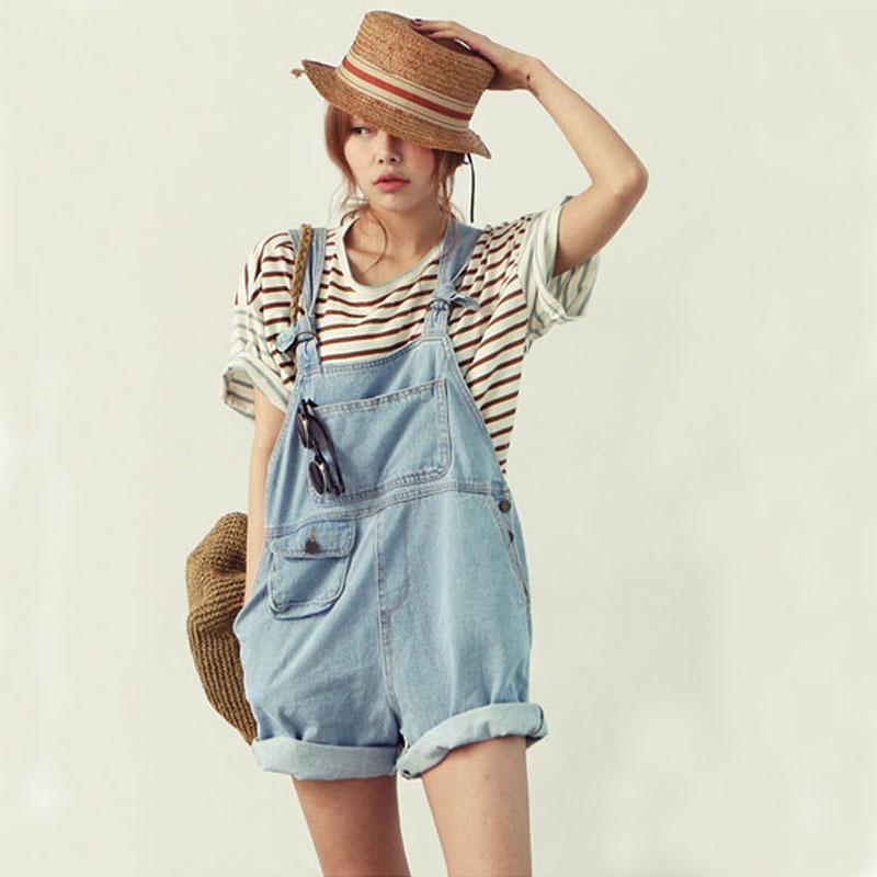 Womenu0026#39;s Cute Denim Overalls Korean Style Casual Jumpsuits Loose Pocket Jeans Shorts Free ...