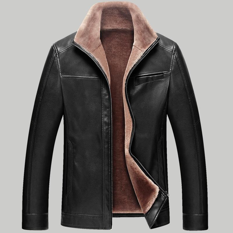 Fashion 2015 Fleece Lining Leather Jacket Men Winter ...