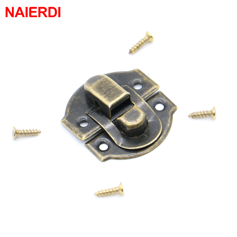 10PC NAIERDI 30x25mm Small Antique Metal Lock Catch Curved Buckle Gold Horn Lock Clasp Hook Gift Jewelry Box Padlock With Screws