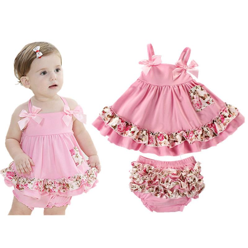 Summer European Style Baby Girl Dress Brand Newborn Baby Girl Sling Bat Shirt Ruffle Bloomers Short Swing Baby Clothing Set D-01(China (Mainland))
