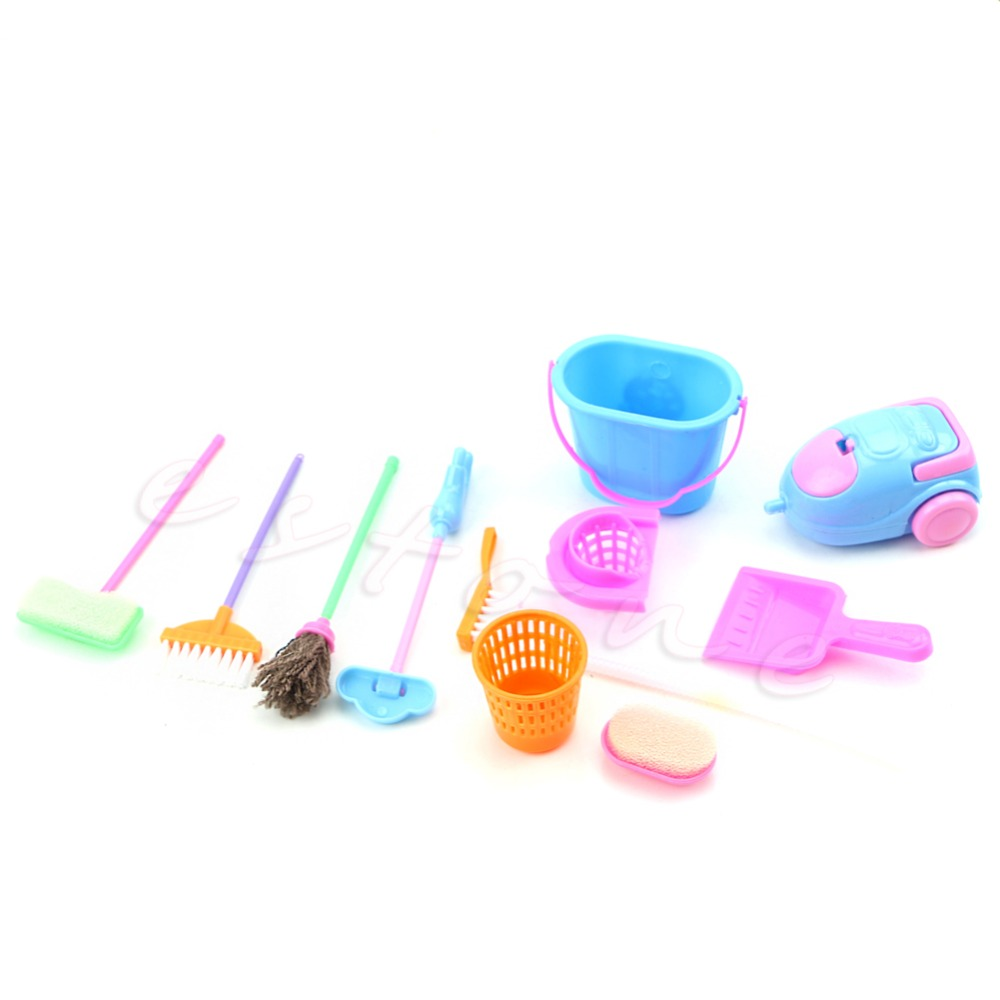 Set of 9Pcs Home Furniture Furnishing Cleaning Cleaner Kit For Doll House(China (Mainland))
