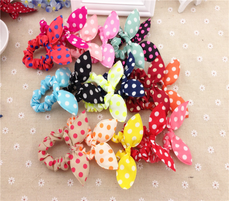 10pcs Rabbit Ears Polka Dots Elastic Hair Bands Rubber Accessories Hairpins acessorios Headband  Fast Bun Gum for Hair(China (Mainland))