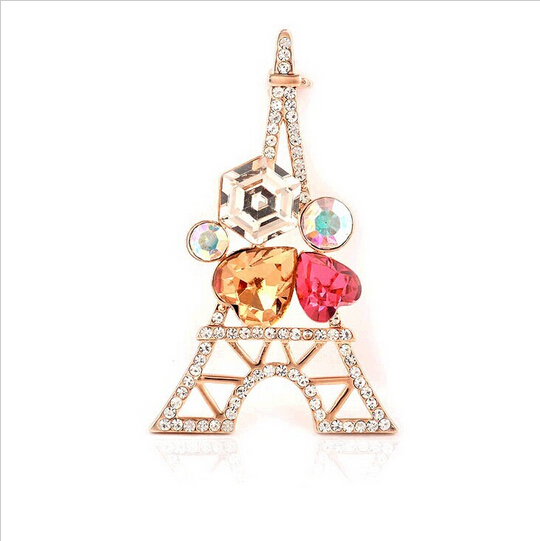 Korean high-quality fine colour Crystal gold Brooch Pins scarf buckle personalized Tower shape corsage Brooches(China (Mainland))