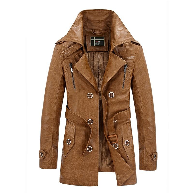 Leather Jacket Men Winter Slim Warm Mens Fur Lined Long Leather Coat Motorcycle Biker Men Jaqueta Couro Masculina Trench Coats