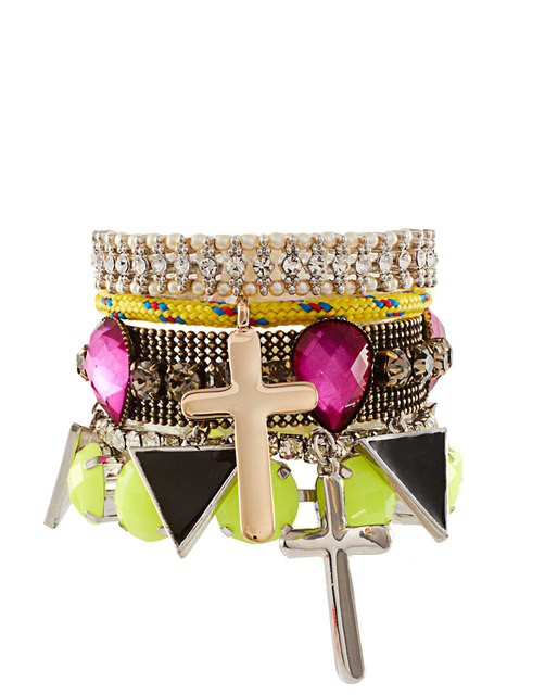 Female neon color gem fashion mix match multi-layer bracelet