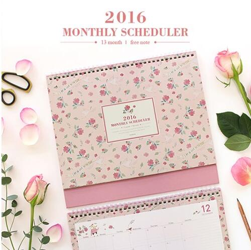 Cute Pink Floral Desk Calendar Planner 2016 Monthly Plan 29.7*22cm 28P Girls Ladys Gift Office School Desk Agenda Retail<br><br>Aliexpress
