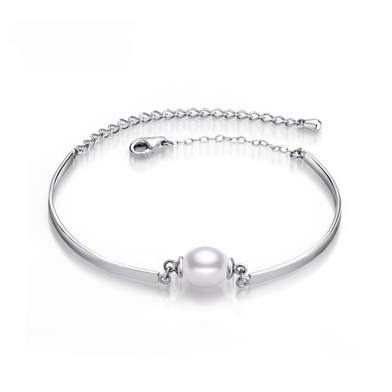 2015 Charm Bracelet Bangles Pearl Jewelry Natural Freshwater Pearl Bracelets Sterling Silver Jewelry Bracelet For Women(China (Mainland))