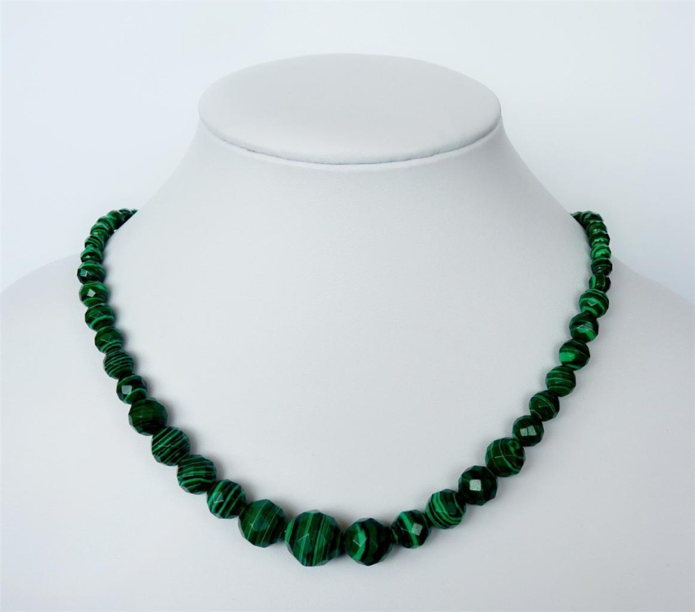 """Discount 2015 new women Lovely 6-14MM Green Malachite Faceted Beads Jadem Necklace 18"""" Wholesale and retail(China (Mainland))"""