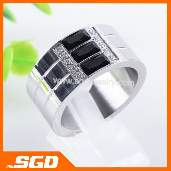 China manufacturer jewelry Elegant stainless steel rings with many CZ stones Best gift for Women XR098(China (Mainland))