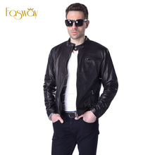 Factory Men Leather Jacket 100% Real Goat Skin Fashion Brand Black Short Soft Men's Genuine Leather Coat Spring Autumn ZH130(China (Mainland))
