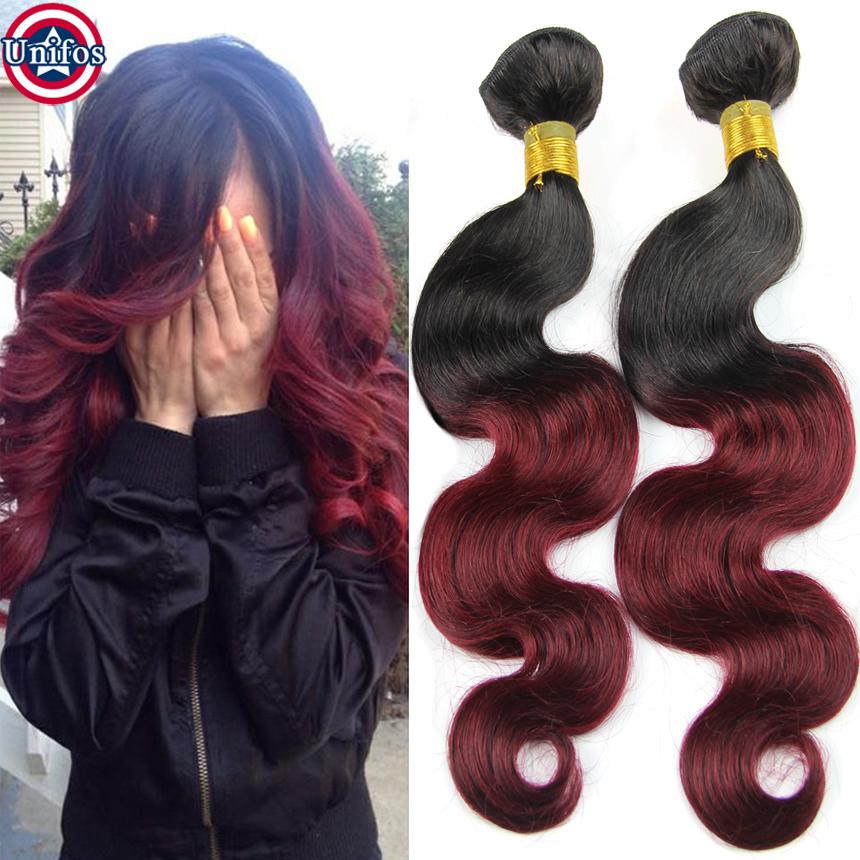 Ombre Brazilian Body Wave 4 Bundles Ombre Virgin Hair 1b 99j Ombre Human Hair Weave Burgundy Ombre Two Tone Brazilian Weave Hair