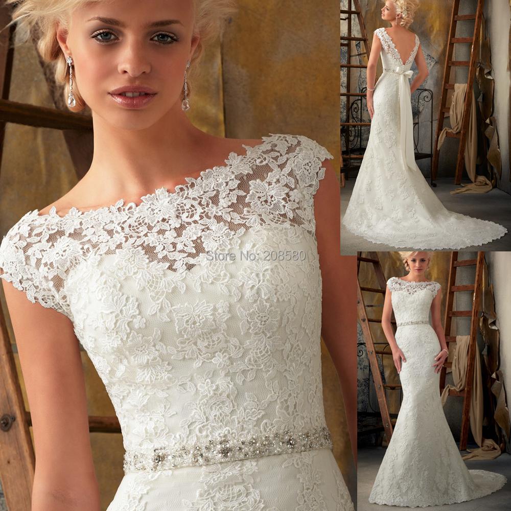 Vintage White Lace Wedding Dress