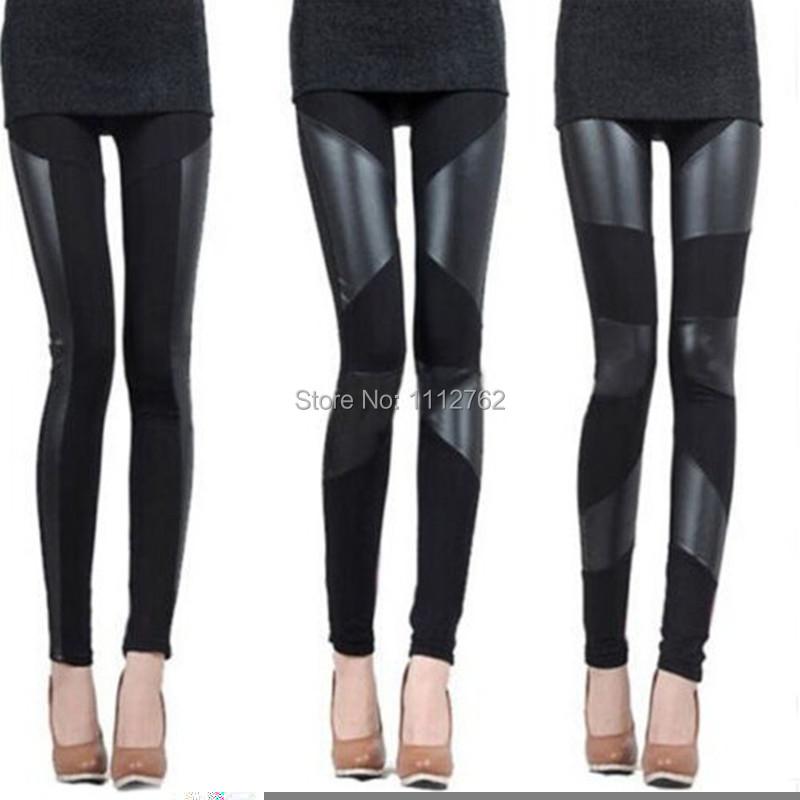 Womens Fashion Sexy Stitching Stretchy Faux Leather Skinny Leggings Pants Free Shipping NYkeN(China (Mainland))