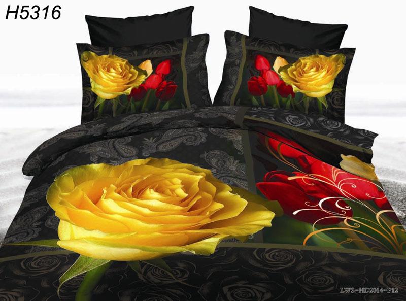 2015 new Digital HD 3D bedding sets yellow rose bedliens 3d bed cover 3d oil bedclothes bedspread 4pcs bedding set hot sale 5316(China (Mainland))