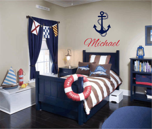 Wall Decor For Guys Room : Personalized name nautical vinyl decal wall sticker art