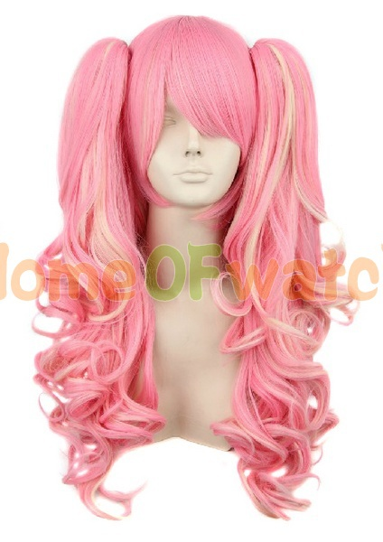 Long Pink and Blonde Anime Cos Clip on 2 Ponytails Wavy Lolita Cosplay costume hair Wigs (NWG0CP60763-PI2)(China (Mainland))
